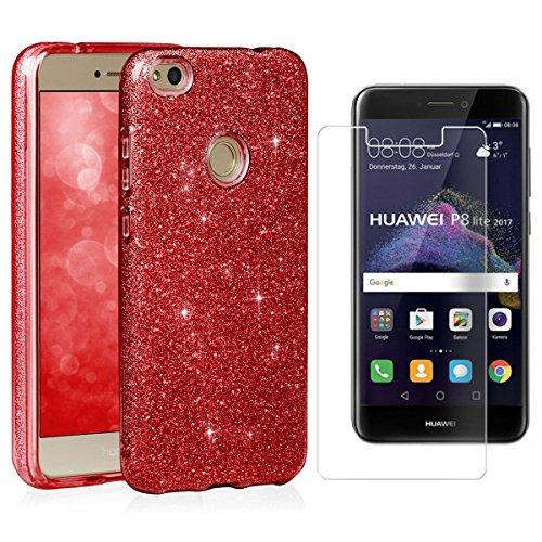 EGO ® Hülle Glitzer Schutzhülle für Huawei P8 Lite 2017, Pink Back Case Bumper Glänzend Transparente TPU Bling Weiche Glamour Handy Cover Lipgloss Rot + Glas