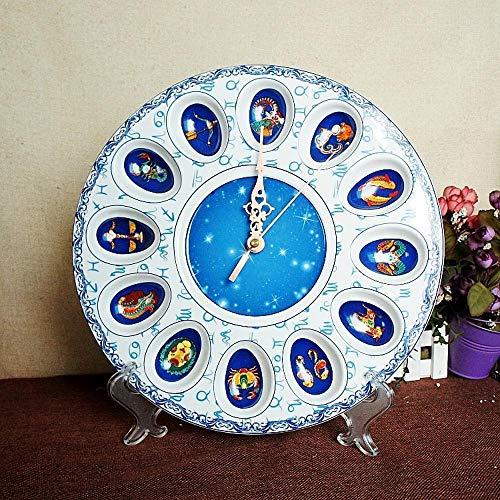Hongge Kaminuhren,Blaue und weiße Porzellan Keramik-Uhr kreative Schlafzimmer stumm Uhr Ornament Ornamente 31 * 5cm
