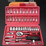 Swiftswan 46pcs Assorted Set di chiavi a cricchetto Chiave dinamometrica Set Strumenti di manutenzione per auto (Colore: rosso)