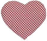 Leinsamenkissen Herz   ca. 30x25cm rot-weiß   Wärmekissen   Körnerkissen Herzkissen   Ein charmantes Geschenk