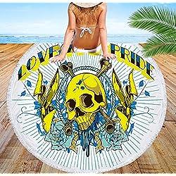 EARENDEL Toalla De Playa Redonda Calaveras Punk Esqueleto Seque Rápido Manta De Viaje Miedo Cráneo Roundie Tapiz Baño De Playa Cubierta De Bikini Towel Al Aire Libre Cojines De Yoga Camping Mat