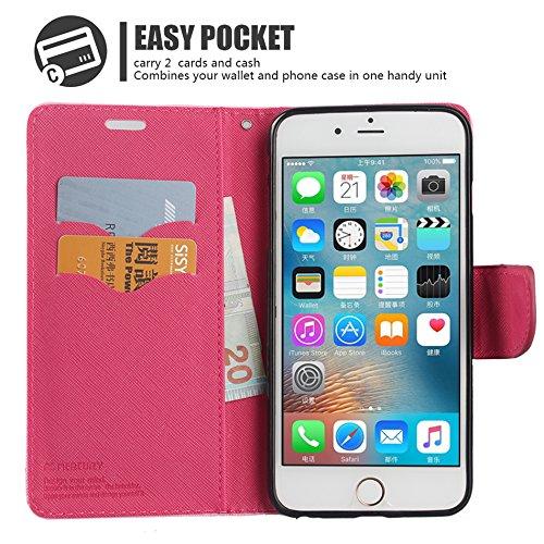 Coque iphone 7 Portefeuille Wallet Housse flip Noir/Marron mercury Case PU Leather ESS TECH® Packaging Fushia