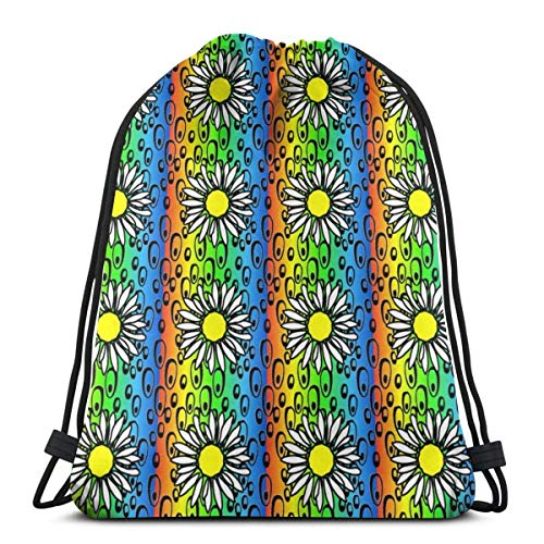 DHNKW Phish Bubbles Rainbow Red to Blue2 Background Flow Gym Sack Bag Drawstring Sport Beach Travel Outdoor Backpack for Women 17 X 14 Inch - Free-flow-dance