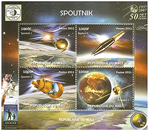 Sputnic Explorer and Vanguard MNH Miniature Stamp Sheet commemorating 50 years (1957-2007) of Space adventures. Republic of Mali /