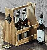 SIDCO ® Flaschenträger mit Flaschenöffner Holz Flaschenhalter Bierträger Flaschenkorb - 4