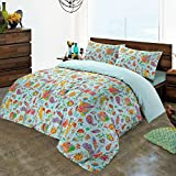 Gemma Deluxe Hotel Quality Paisley 100% Egyptian Cotton Satin Duvet Cover and Pillowcases Set (Blue, King)