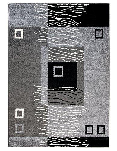 Alfombra De Salón Moderna – Color Gris De Diseño Geométrico Cuadrado – Suave – Fácil De Limpiar – Mejor Calidad – Diferentes Dimensiones S-XXXL 160 x 220 cm
