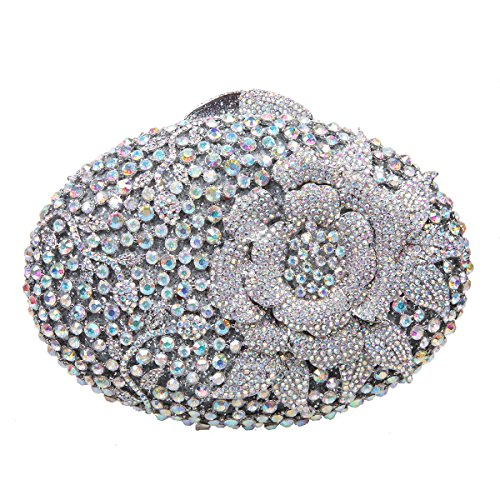 Bonjanvye Glitter Flower Clutch Purses Rhinestones and Handbags for Girls Red AB Silver