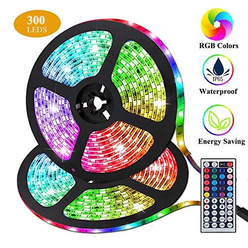 LED Streifen, Targherle 10M/33Ft LED Stripes RGB 5050 SMD 300 Led Bänder IP65 Wasserdicht mit 44Key Fernbedienung und Netzteil für Küche, Bar, Terrasse, Party und ganzes Haus -