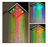 Große LED Duschkopf Regendusche Eckig Regen-Brause...