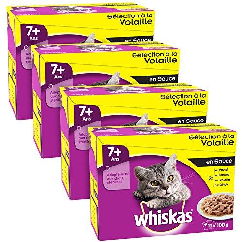 whiskas-selection-a-la-volaille-en-sauce-7-sachets-fraicheur-pour-chats-12-x-100g-lot-de-4