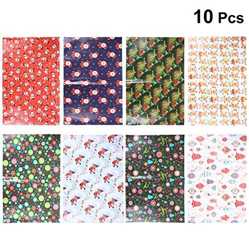 YeahiBaby Geschenkpapier, dekorativ, weihnachtliches Bastelpapier, 10 Rollen (zufälliger Stil)