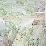 ANRO Tischdecke Wachstuch Wachstischdecke Wachstuchtischdecke abwaschbar Grün Hellgrau Frische Blätter Abstrakt Modern Stimmung 100 x 140cm