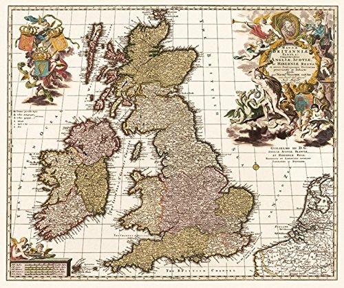 Historische Karte: GROSSBRITANNIEN, IRLAND, SCHOTTLAND, England, Wales, Schottland, Nordirland, Britische Inseln mit den Shetlandinseln, Hebriden, Man, Scilly-Inseln, Orkney, Wight 1717 (gerollt) -