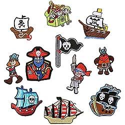 11PCS pirata toppe termoadesive o da cucire ricamato patch per abbigliamento giacca zaino sciarpa scarpe applique