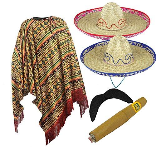 Sombrero Kostüm - Kostüm für Erwachsene Mexikanischer Bandit 4-teilig-Poncho/Zigarre/Schnurrbart/Sombrero