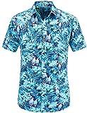 JEETOO Homme Chemise Hawaienne Casual Manches Courtes à Fleurs Été (XXX-Large,Bleu)