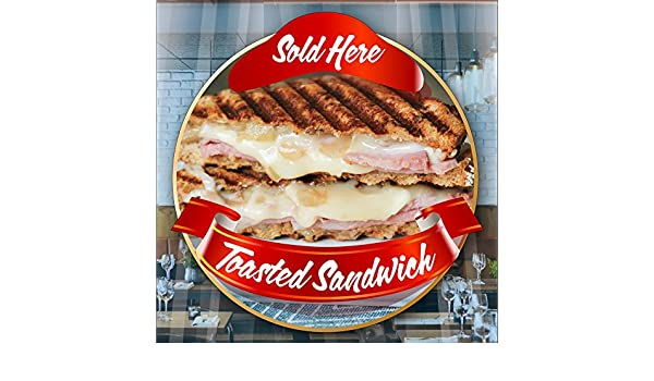 Toasted Sandwich Toastie Catering Window Cafe Shop Restaurant Sticker Sign Decal