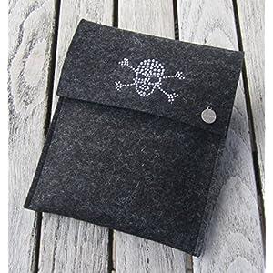 zigbaxx eReader Hülle DARK ZONE Case Sleeve Filz u.a. für Tolino Epos, Vision 4HD 3HD, Shine 2 HD, Page - Schutzhülle aus 100% Wollfilz pink schwarz beige grau braun, Geschenk Weihnachten Geburtstag