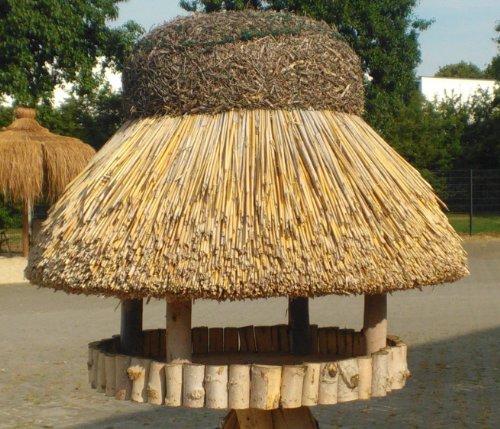 Vogelhaus Sylt mit Reetdach (rund 74 cm Durchmesser (ohne Ständer)) - 2