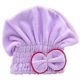 zhouba Damen Haar trocknen Hat Spa Handtuch Turban Gap niedliche Schleife weichem Coral Samt Mikrofaser, violett, Einheitsgröße