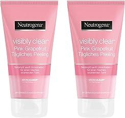 Neutrogena Visibly Clear Pink Grapefruit Tägliches Peeling – Erfrischendes Waschpeeling gegen Hautunebenheiten und Pickel im Gesicht mit Grapefruit Duft – 2 x 150ml