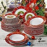 VEWEET, Serie SANTACLAUS, Porzellan Kombiservice, 36 teilig Geschirrset, Teller Set, mit je 12 Dessertteller, Suppenteller und Speiseteller