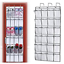 Shoe Racks Over Door Storage, 24 Large Mesh Pockets Heavy Duty Hanging Holder Tidy Organizer By YUMOMO