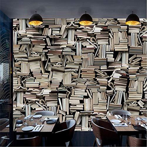 XCMB Tapete Benutzerdefinierte 3D Wallpaper Europäischen Retro Stereo Bücherschrank Bücherregal Tv Hintergrund Wohnzimmer Schlafzimmer Wandmalereien-450Cmx300Cm