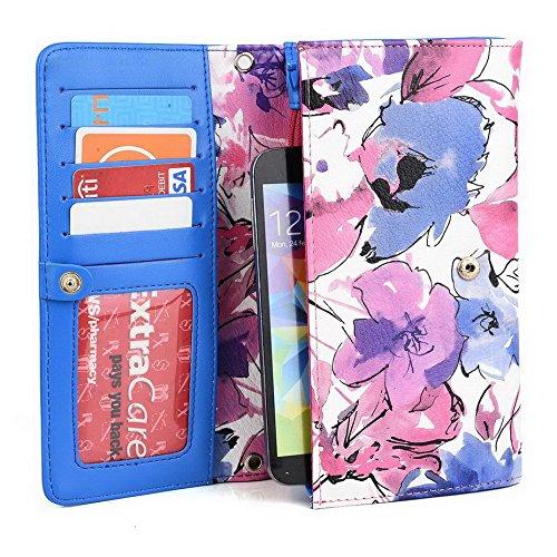 Kroo Pochette Crocodile pour portefeuille et étui pour Samsung Galaxy Express/A3 Multicolore - magenta Multicolore - magenta