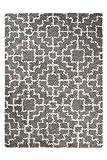 Tapiso RIO Teppich Shaggy Hochflor Langflor Geometrisches Orient Muster Dunkelgrau Creme Weich Flauschig Wohnzimmer Schlafzimmer ÖKOTEX 80 x 150 cm