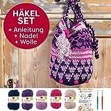 Myboshi Häkeltasche Shunan, Häkel Set: 2 Häkelnadel + Häkelanleitung + 5x Häkel-Wolle + selfmade Label, Farben (Marine, Violett, Hautfarbe, Magenta, Candy, mit Häkelnadeln)