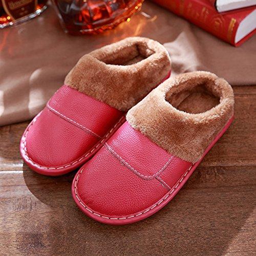 DogHaccd pantofole,Con trattamento di mezza pensione con le coppie home pantofole uomini e donne Autunno Inverno spessi di cotone, antiscivolo inverno caldo scarpe eleganti Il rosso3