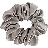 Novo Amour Sleeping Silk Satin Hair Scrunchies Ties (Slate Grey, White, Lavender and Black, Medium) - Pack of 4