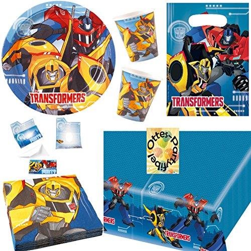 HHO Transformers RID Partyset 85tlg. für 16 Kinder Teller Becher Servietten Tischdecke Tüten Einladung (Dekorationen Party Transformers)