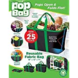 ZA EShop Pop Bag: Eco-Friendly, Collapsible, Reusable Shopping/Storage Bag - Holds Up To 40 Lbs