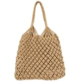 Umhängetasche Mesh Beach Bag Woven Cotton Hollow für Damen (Schwarz)