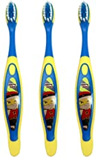 Adore Mighty Raju Kids Toothbrush with Cap (Yellow) (Pack of 3)