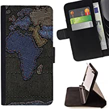 Graphic4You Africa Europe World Map Sewn Denim Jeans Diseño Cuero Carcasa Funda Monedero para Sony Xperia T3