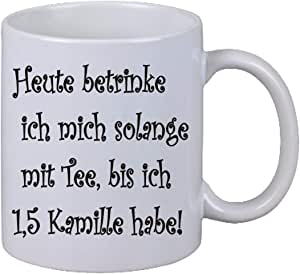 Netspares 119011026 Kaffee Tasse Heute betrinke ich mich bis 1,5 Kamille Fun Weihnachten Büro Tee, Weiß