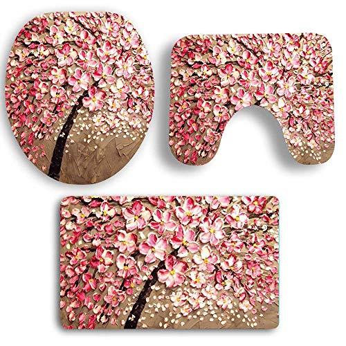 HOLD HOLD Badvorleger, 3-teilig, rutschfeste Teppich-Fußmatten mit 3D-Baum-Blumen-Duschmatte, Konturmatte & WC-Deckelbezug, schnelltrocknend, super saugfähiger Teppich Medium a