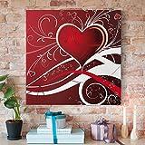 Bilderwelten Cuadro en lienzo - Red Hearts - Cuadrado 1:1, cuadros cuadro lienzo cuadro de lienzo cuadro sobre lienzo cuadro moderno cuadro decoracion cuadros decorativos cuadro xxl, Tamaño: 80cm x 80cm