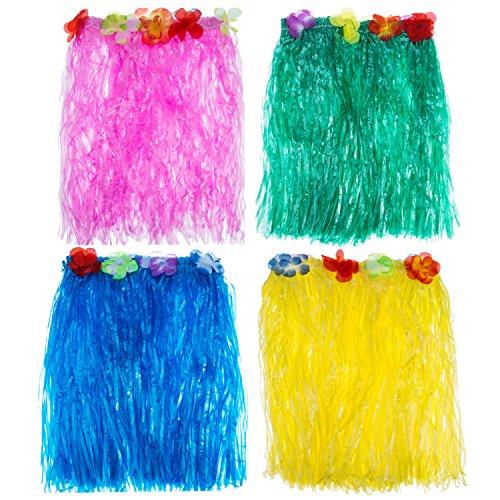 Blulu 4 Stück Mehrfarbig Hawaiian Seide Falsch Blumen Hula Gras Rock Party Strand Tanz Dress