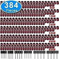 SIQUK 384 Piezas Tambores de Lijado incluso 360 Piezas Bandas de Lija y 24 Piezas Mandriles de Tambor para Herramienta Rotatoria Dremel