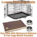 Dog Crate Small Medium Large XL XXL Optional Bed & Bowls Puppy Cage Metal Folding Training Cage With Metal Tray