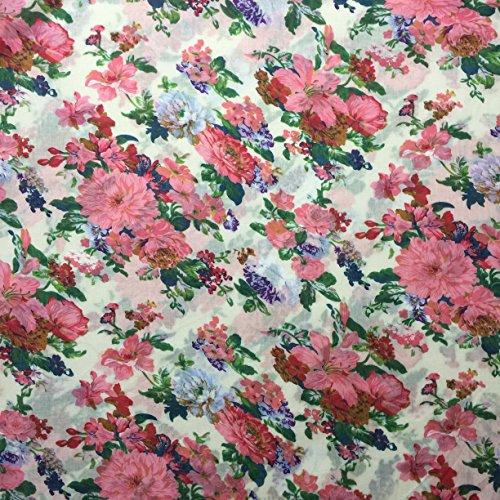 Ditsy Floral Print 1515/508creme 100% Baumwolle Linon Sommer Kleid Stoff 147,3cm breit, Meterware, -