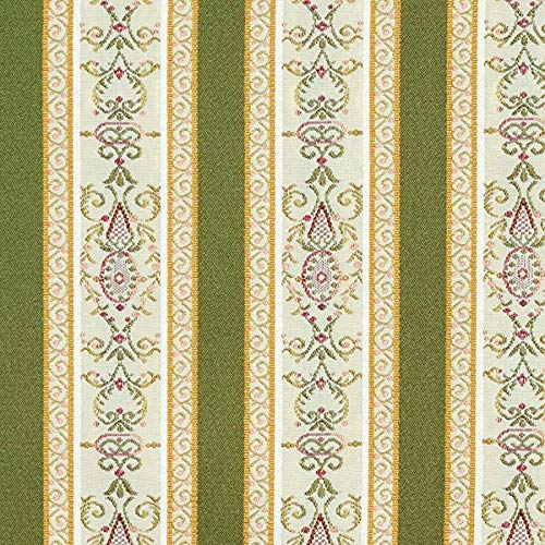 Fabulous Fabrics Möbelstoff Jacquard Biedermeier Streifen - Creme/Oliv - Meterware ab 0,5m - zum...