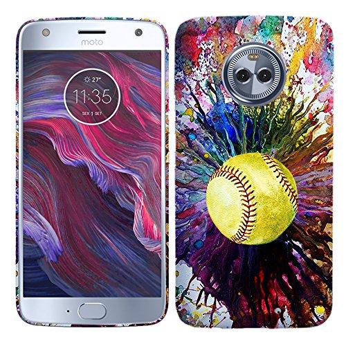 Moto X4Fall-Vintage Farbe Softball Hartschale Kunststoff Back Cover. Slim Profil Cute Bedruckt Designer Schutzhülle Zum Aufstecken von Glisten - Softball 4 Iphone Fall
