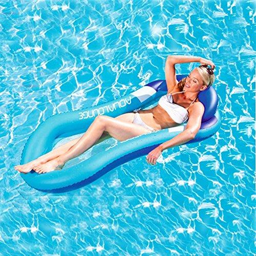 AILUOR Pool Hängematte, Wasser Sofa mit Kopfteil, Wasser-Hängematte Schwimmliege Wasserhängematte Wasserliege aufblasbares, Luftmatratze Pool Lounger Liege für Sommer im Freienschwimmen (Blau)