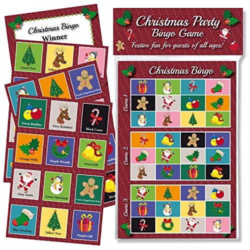 Juego de Bingo de Navidad, diversión y juegos para la familia, oficina y niños, fiestas de Navidad con certificados libres, regalo ideal para adultos, grupos y niños de todas las edades, basado en el juego de bingo tradicional este juego de entretenimient